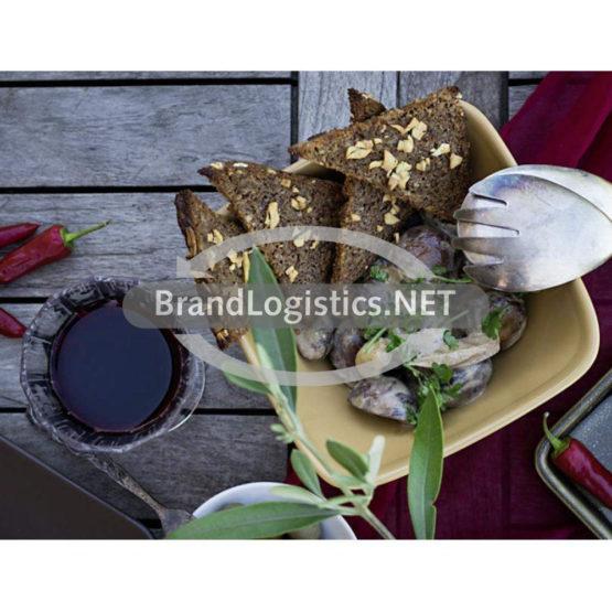 Champignons in Weißweinsoße mit geröstetem Knoblauchbrot