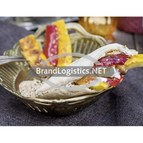 Pita mit Grillgemüse, Grillkäse und Tahin-Dip