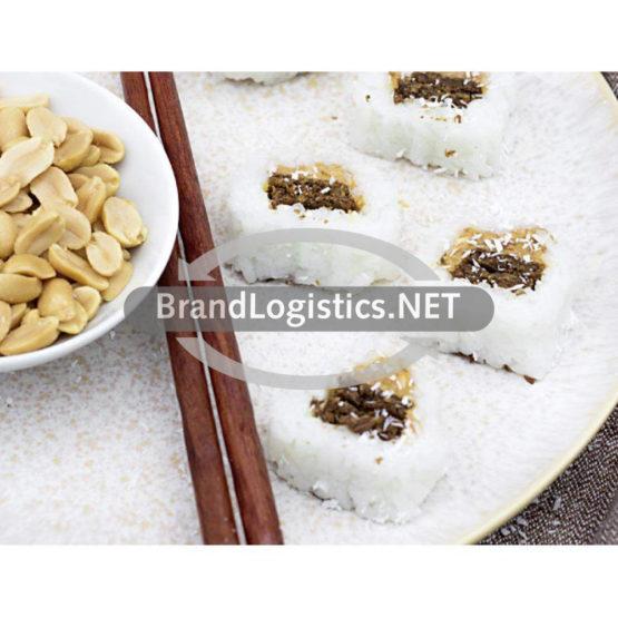 Süßes Sushi mit Kokosreis, Pumpernickel und Erdnussbutter