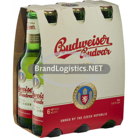 Budweiser Budvar Premium Lager 5% vol. 6 x 0,33 l