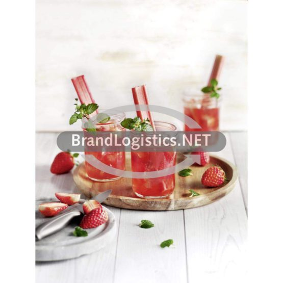 Erdbeer-Rhabarber-Drink mit Minze