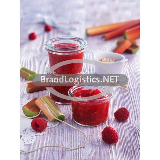 Himbeer-Rhabarber-Fruchtaufstrich mit Nüssen