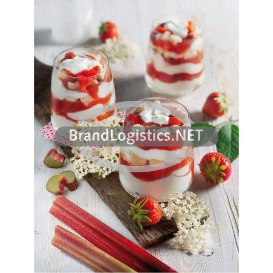 Holunderblüten-Trifle mit Erdbeer-Rhabarber-Kompott