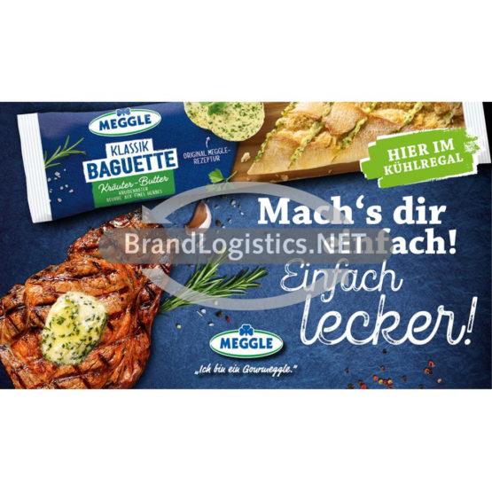 Meggle Kräuter-Butter Baguette zu Fleisch Waagengrafik 800×474