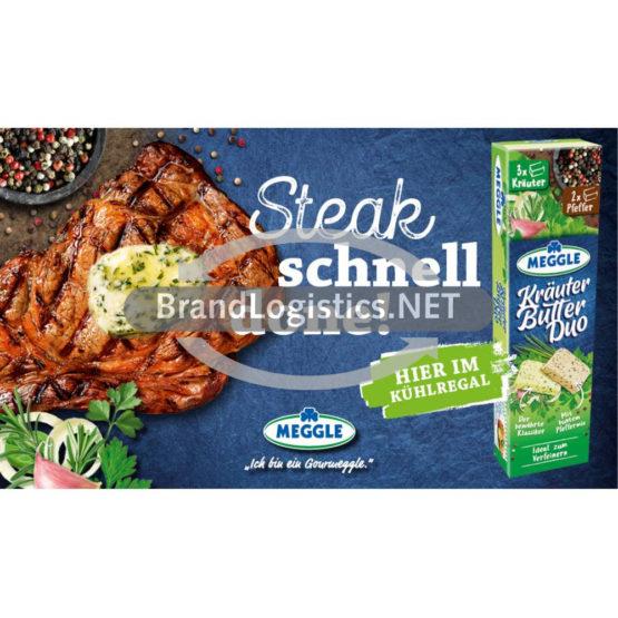 Meggle Kräuter-Butter Duo Riegel zu Fleisch Waagengrafik 800×474