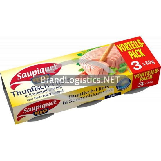 Saupiquet Rio Mare Thunfisch-Filets in Sonnenblumenöl 3×80 g