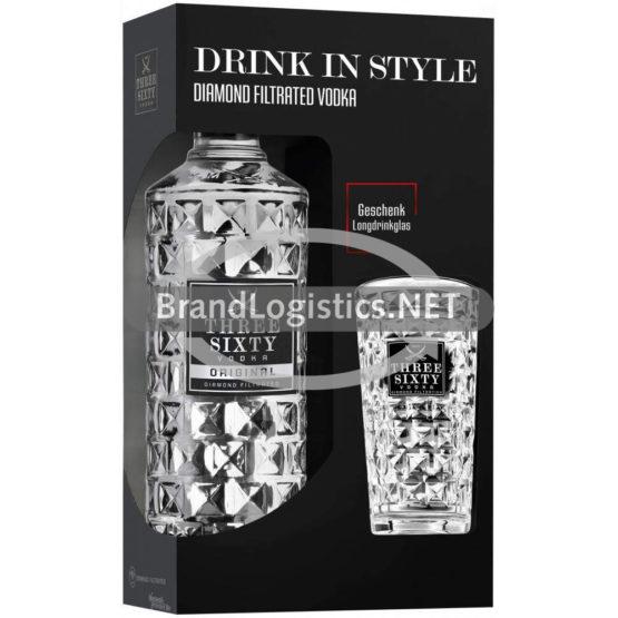 Three Sixty Vodka Original 37,5% vol. 0,7 l + Longdrinkglas