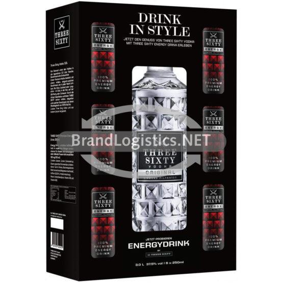 Three Sixty Vodka 37,5% vol. 3,0 l + Energy 6×0,25 l