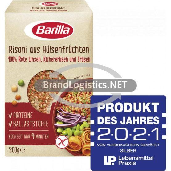 Barilla Risoni aus Hülsenfrüchten Linsen, Kichererbsen und Erbsen 300 g und Produkt des Jahres Logo