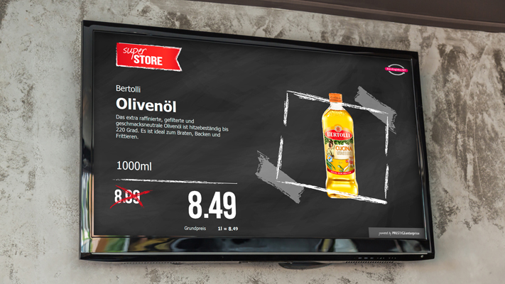 Wandscreen Olivenöl